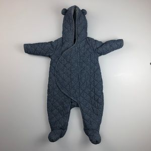 Baby Gap 6-12 Month Snowsuit Denim Style Quilted